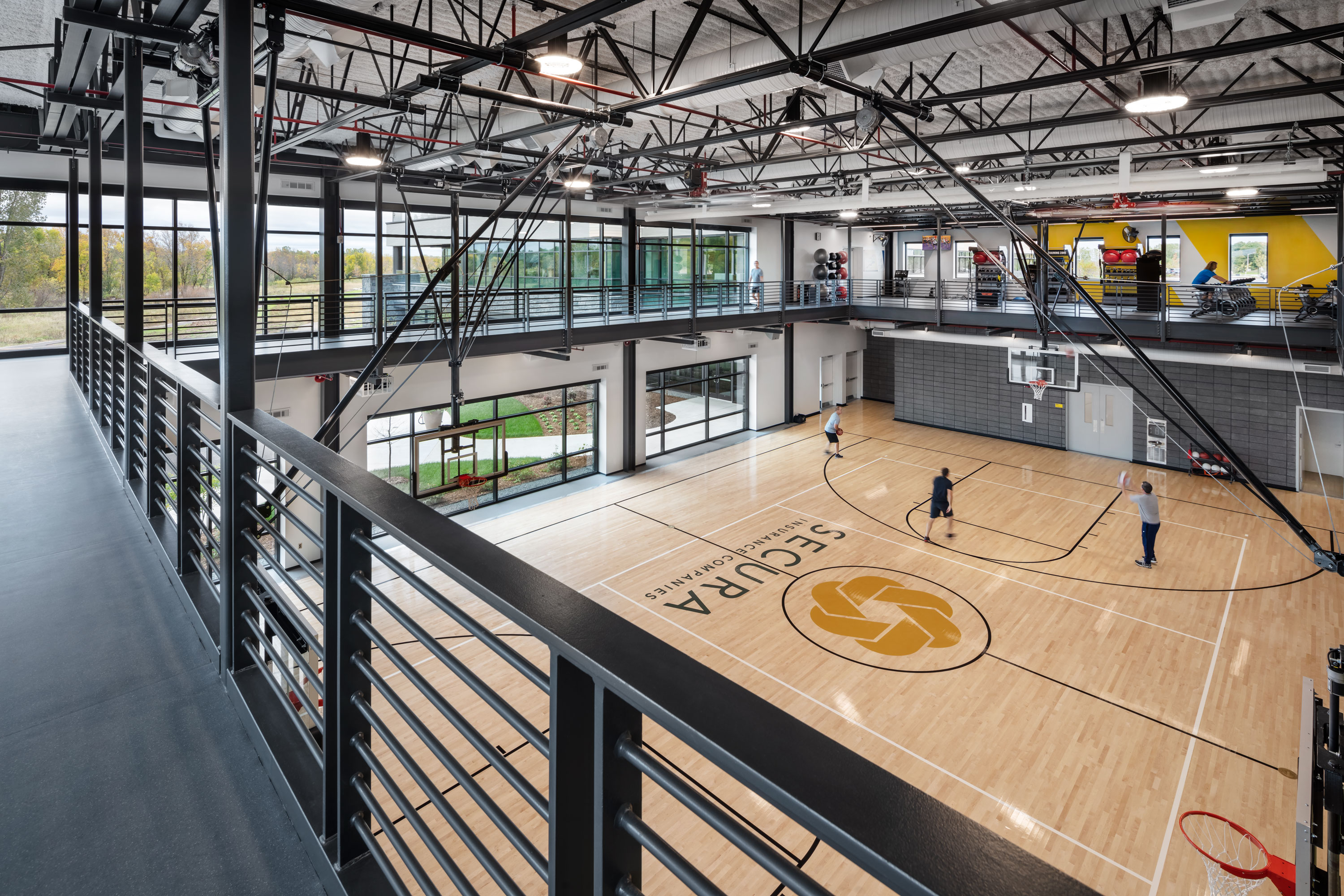 Basketball court & fitness areas of SECURA Insurance Companies' Corporate Headquarters - Building achieved WELL Gold Certification