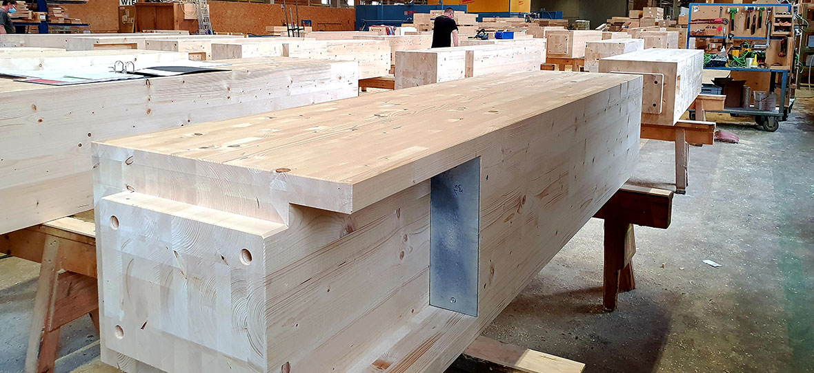 Wiehag Timber Construction photos of engineered wood before shipping for the world's tallest mass timber wood building project, Ascent luxury apartments.