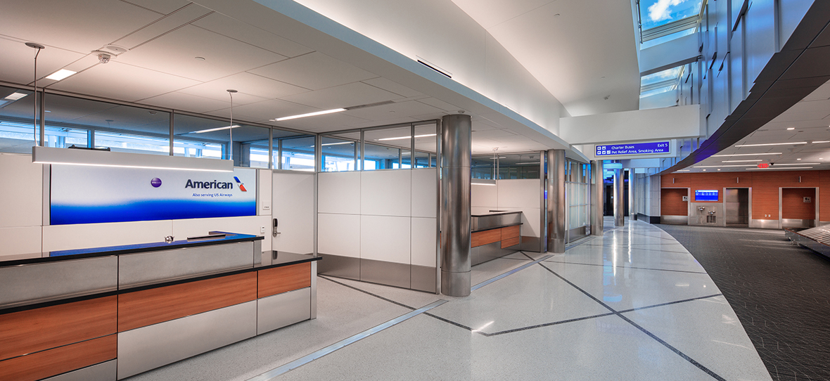 The General Mitchell International Airport Baggage Claim project was a phased deconstruction and reconstruction of a new baggage claim building, mezzanine offices, and lower level mechanical and carousel equipment space that was completed by C.D. Smith. This project was LEED cerftified, due to its green roof and its energy efficient design.
