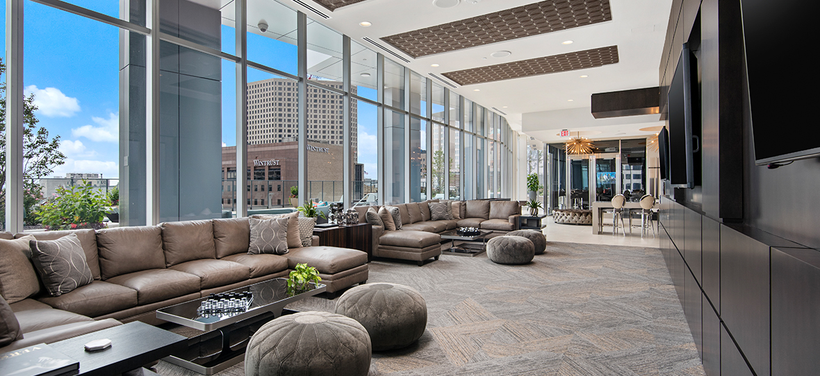 7Seventy7, Northwestern Mutual's luxury high-rise located adjacent to its downtown Milwaukee campus, features high-end residential apartments and retail space, while also addressing the company's workforce parking needs.