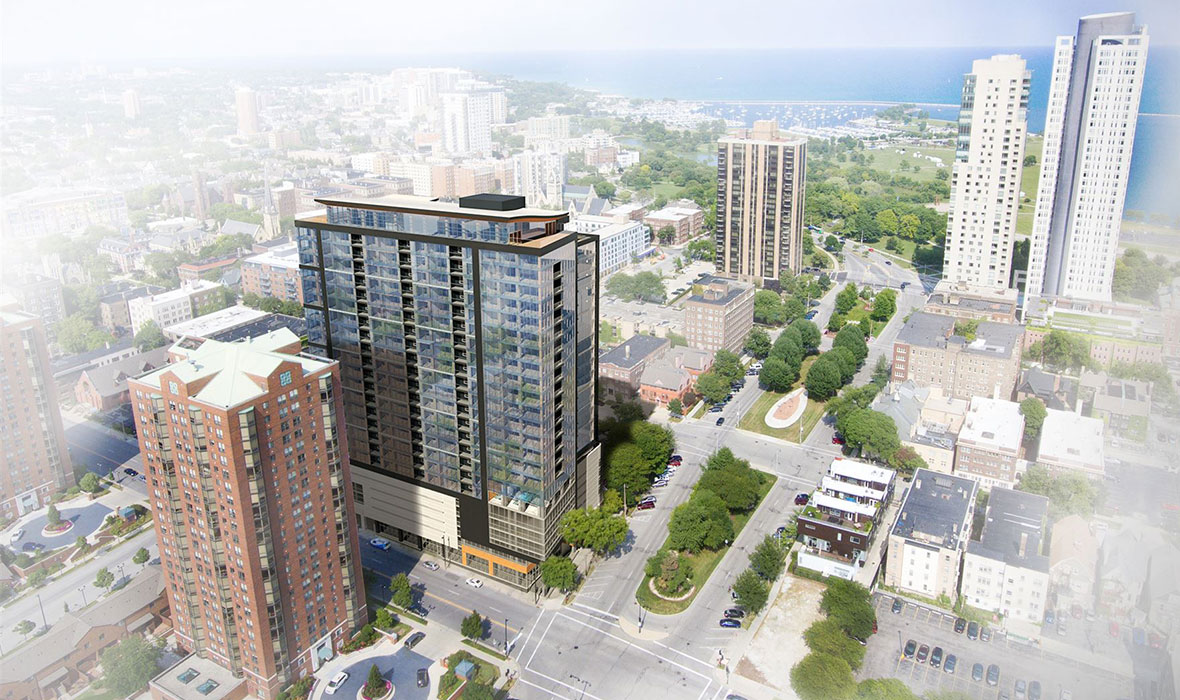 Ascent luxury apartments Milwaukee housing project updates from C.D. Smith Construction on tallest mass timber wood building.