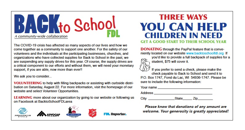 C.D. Smith is proud to donate and continue supporting Back to School FDL.