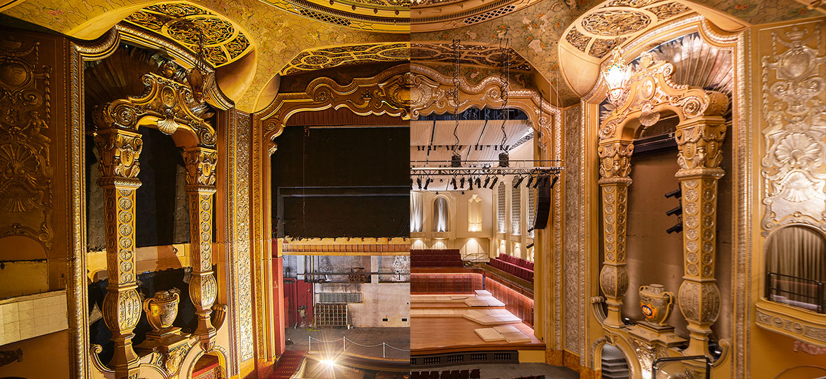 Theater Stage Before and after photos Milwaukee Symphony Orchestra historic restoration construction project theater + stage Warner Grand Theatre Bradley Symphony Center