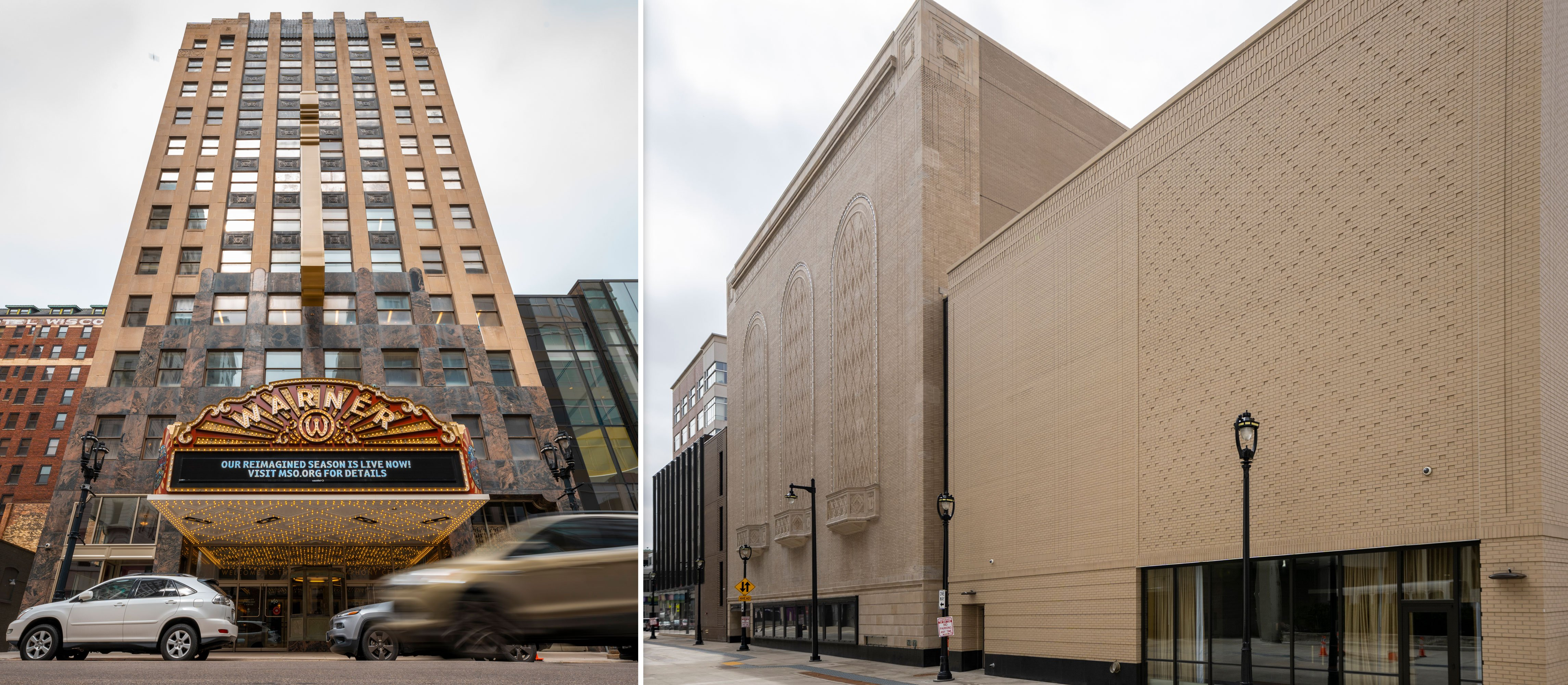 Bradley Symphony Center Warner Grand Theatre facade & historic wall of Milwaukee Symphony Orchestra