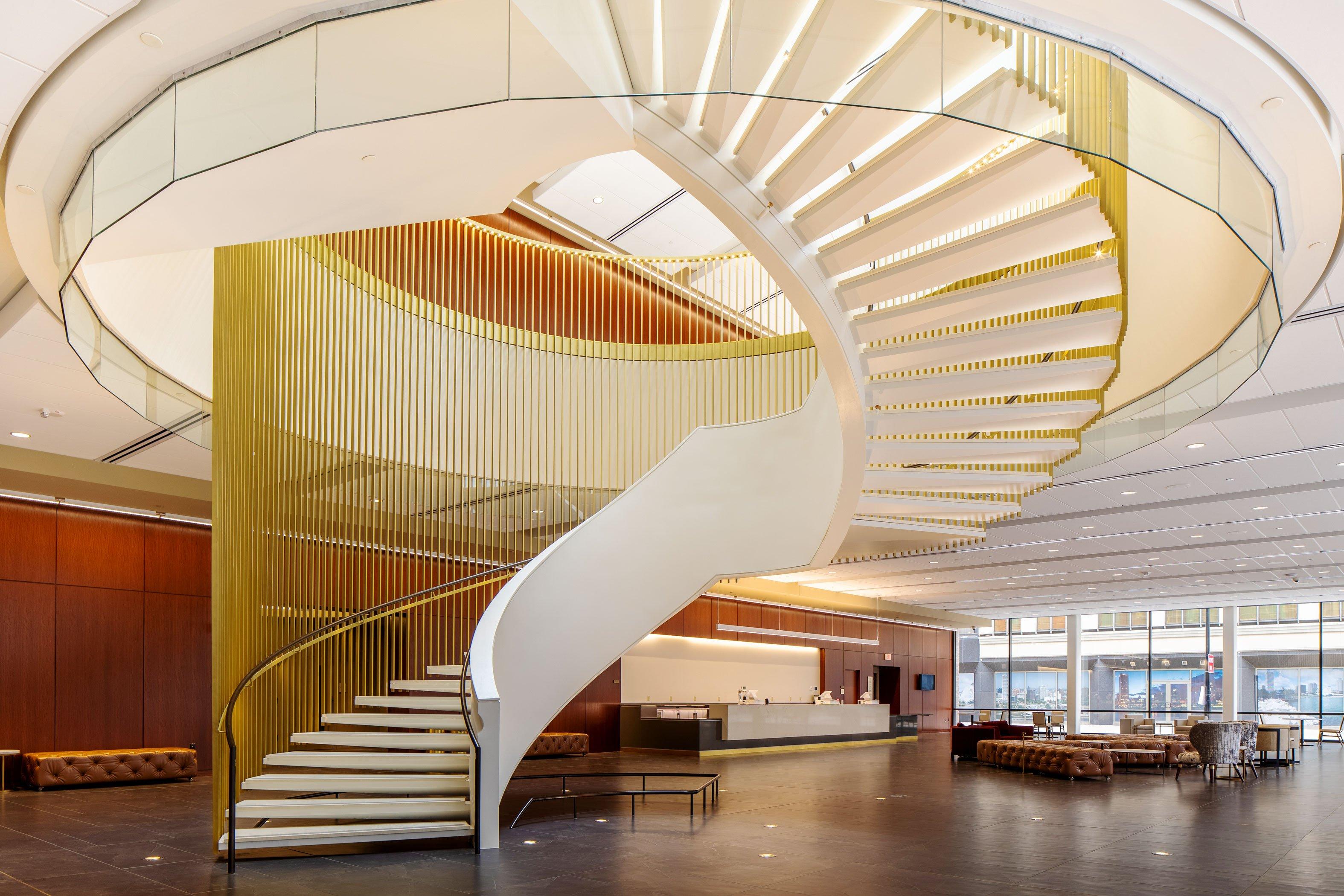 Bradley Symphony Center spiral staircase modern atrium architecture of Milwaukee Symphony Orchestra