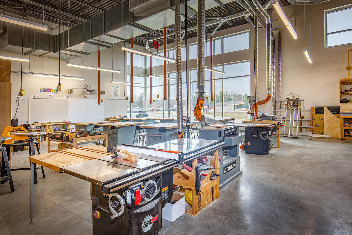 C.D. Smith Construction Connecting Schools & Building Businesses with Skilled Trades Career & Technical Education - Kewauskum School Wood Shop Classroom