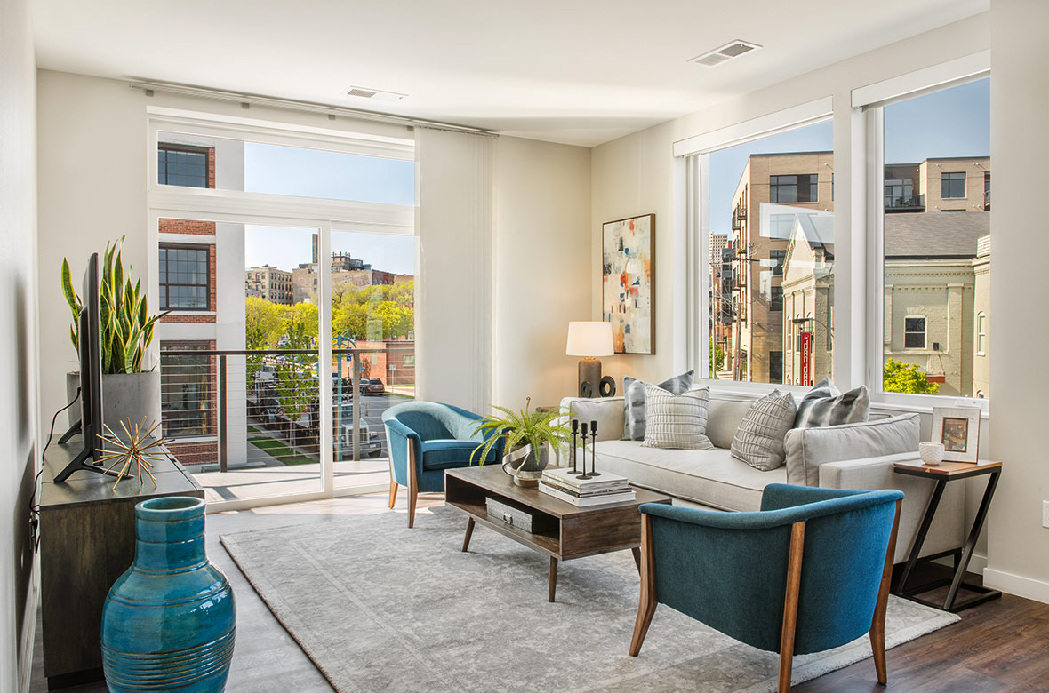 C.D. Smith Construction Manager built DoMUS apartments high-end housing in Milwaukee's Historic Third Ward & RiverWalk.