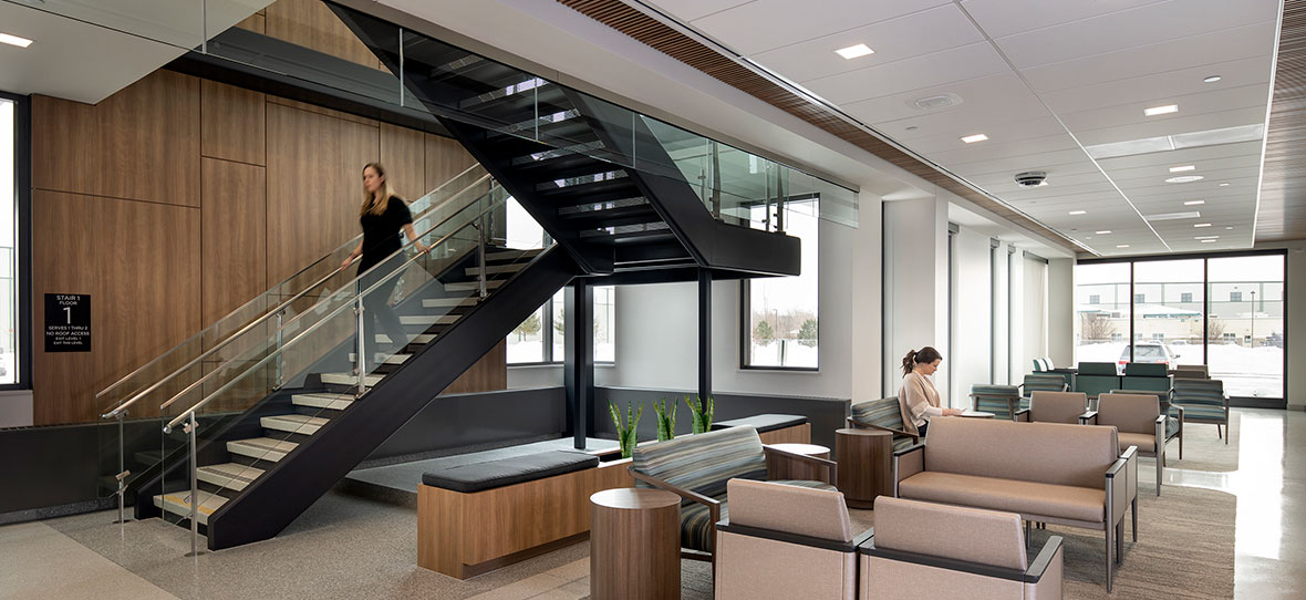 C.D. Smith Construction Manager modern healthcare architecture building project SSM Health Beaver Dam Clinic stairs design