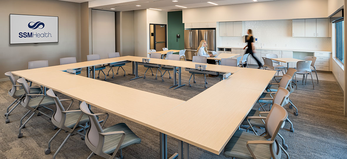 C.D. Smith Construction Manager modern healthcare architecture building project SSM Health Beaver Dam Clinic meeting room design