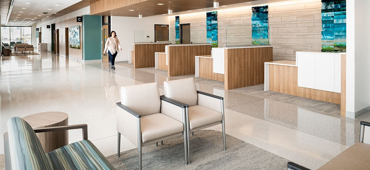 C.D. Smith Construction Manager modern healthcare architecture building project SSM Health Beaver Dam Clinic lobby design