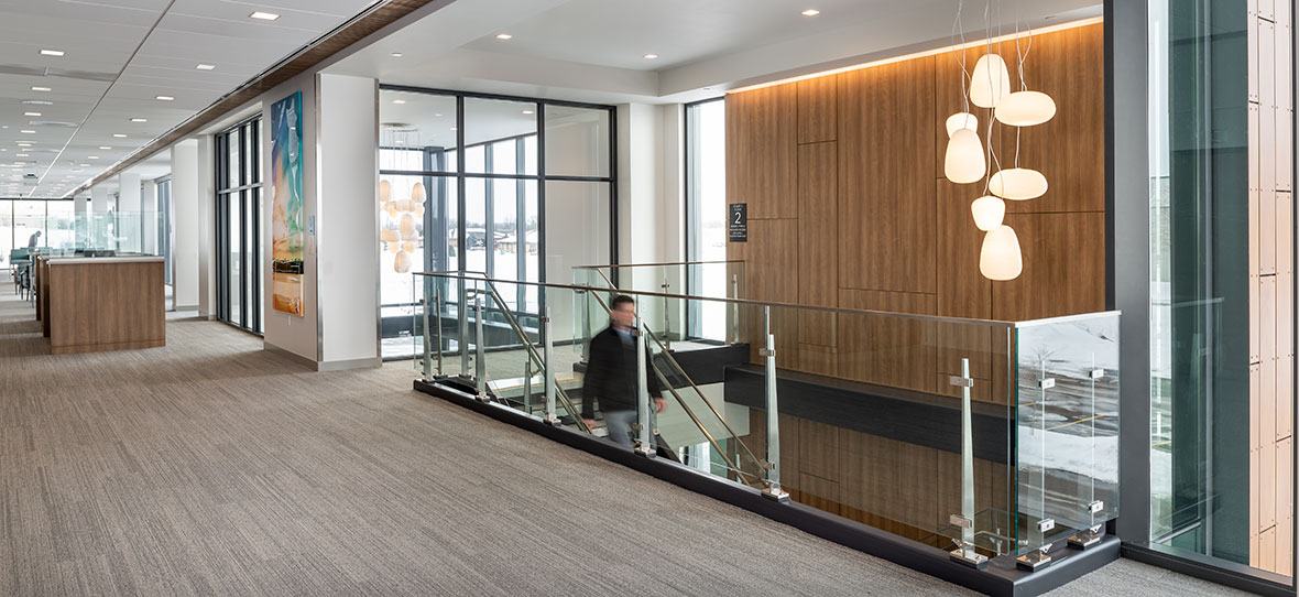 C.D. Smith Construction Manager modern healthcare architecture building project SSM Health Beaver Dam Clinic staircase design
