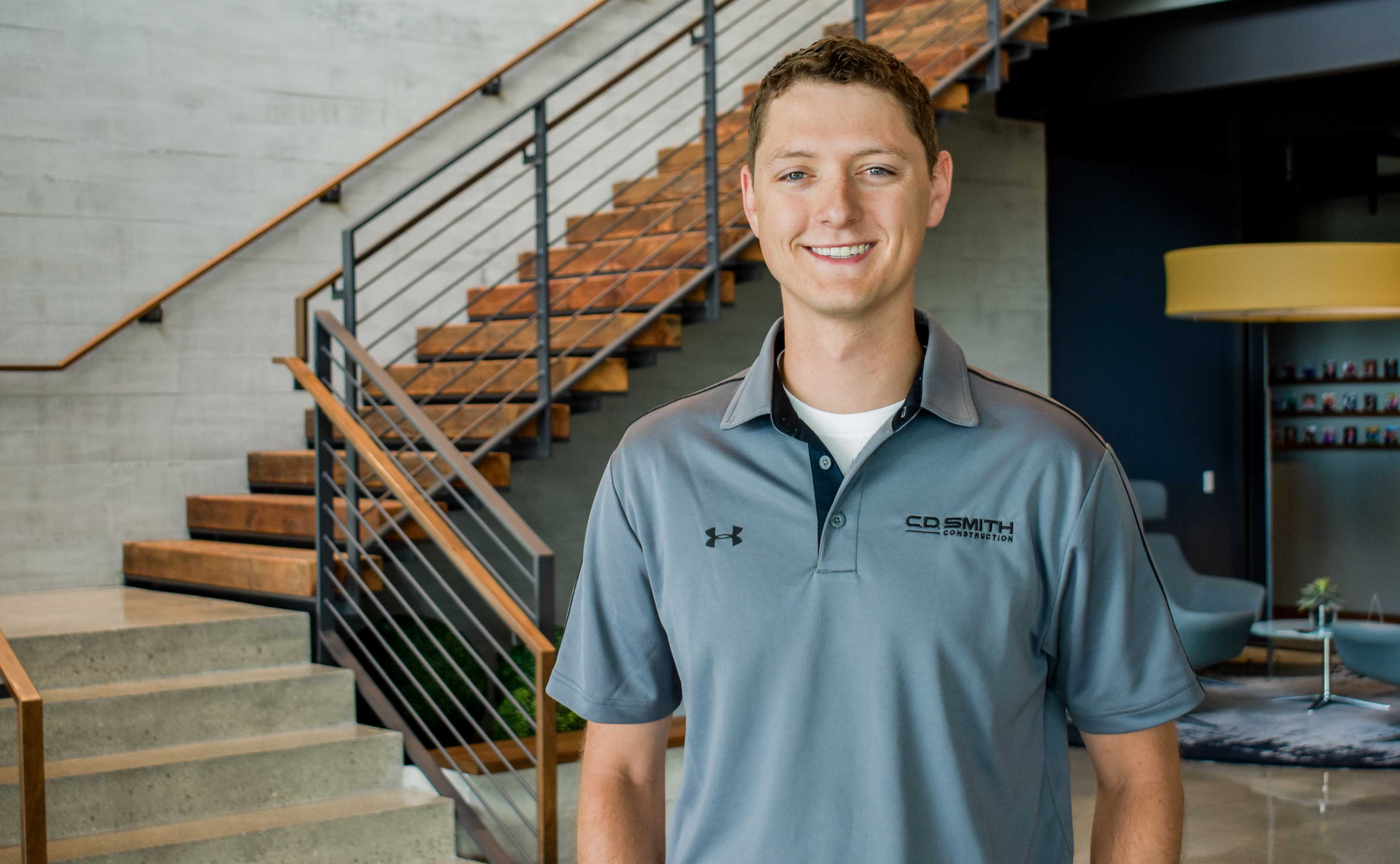 C.D. Smith Construction Project Manager Logan Krull at the Corporate Office in Fond du Lac