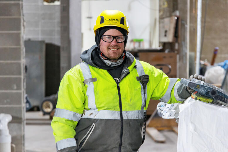 C.D. Smith Construction Safety Representative & Laborer Adam Kemnitz Commercial Trades Construction Project Jobsite Safety