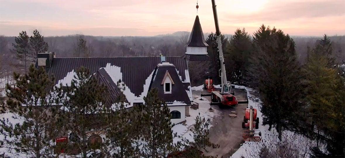 C.D. Smith Construction services Camp Vista Chapel building project management steeple crowning crane schedule