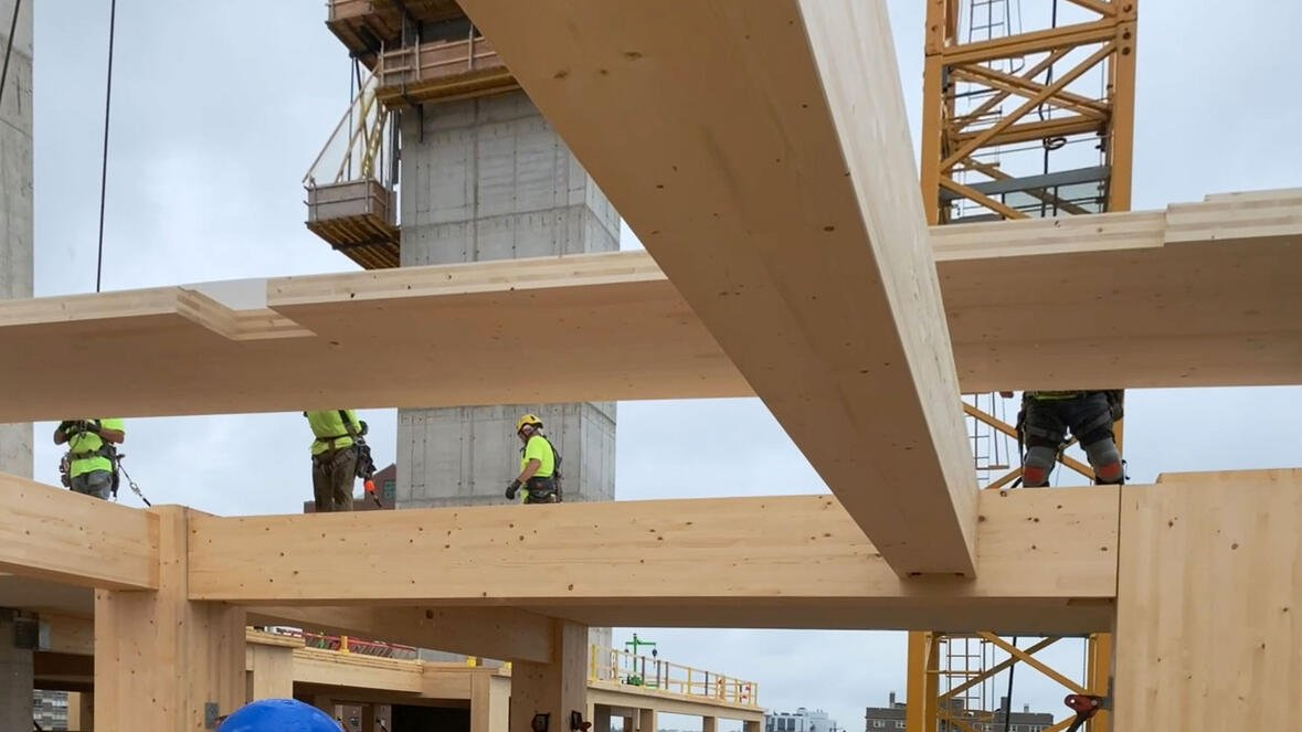 C.D. Smith building mass timber construction for Ascent world's tallest timber tower in Milwaukee