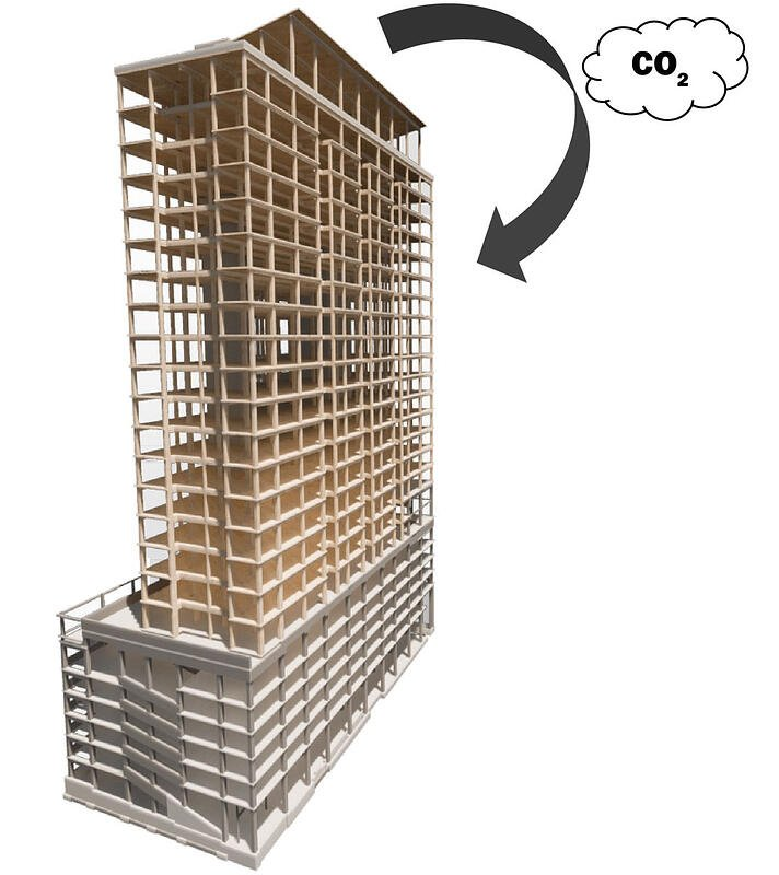 Carbon Sequestering timber building carbon storage for negative carbon imprint mass timber building