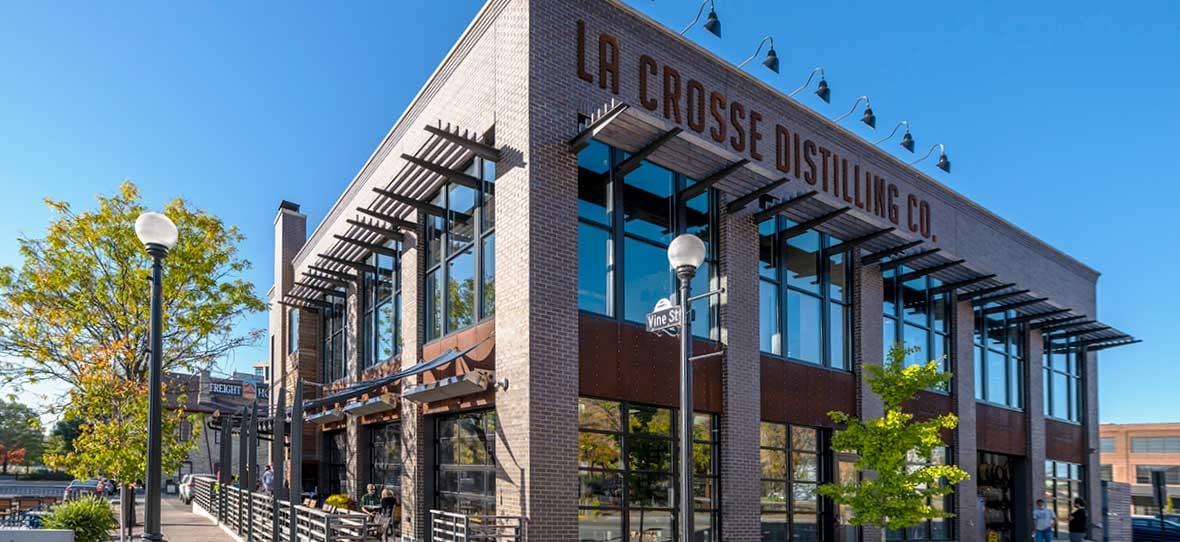 La Crosse Distillery street view exterior brick facade built by C.D. Smith Construction Manager