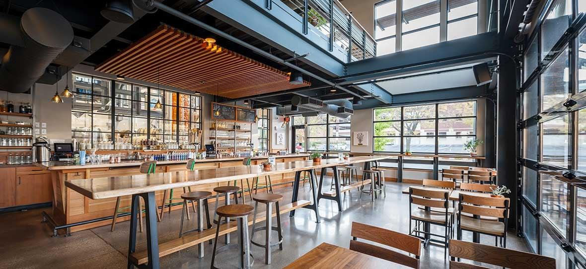 La Crosse Distillery modern industrial interior dining & bar built by C.D. Smith Construction Manager