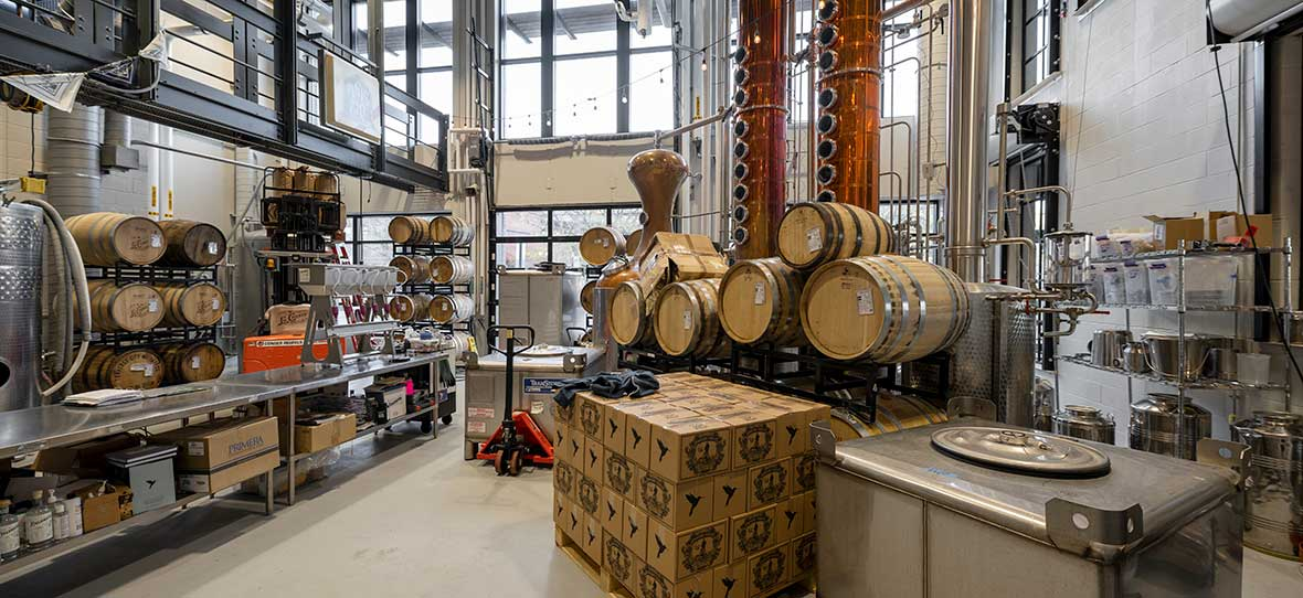 La Crosse Distillery modern industrial interior built by C.D. Smith Construction Manager