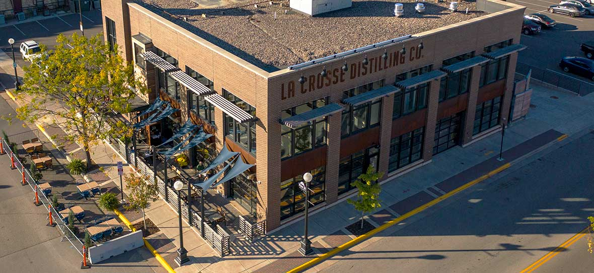 La Crosse Distillery drone aerial exterior photography of building C.D. Smith Construction Manager