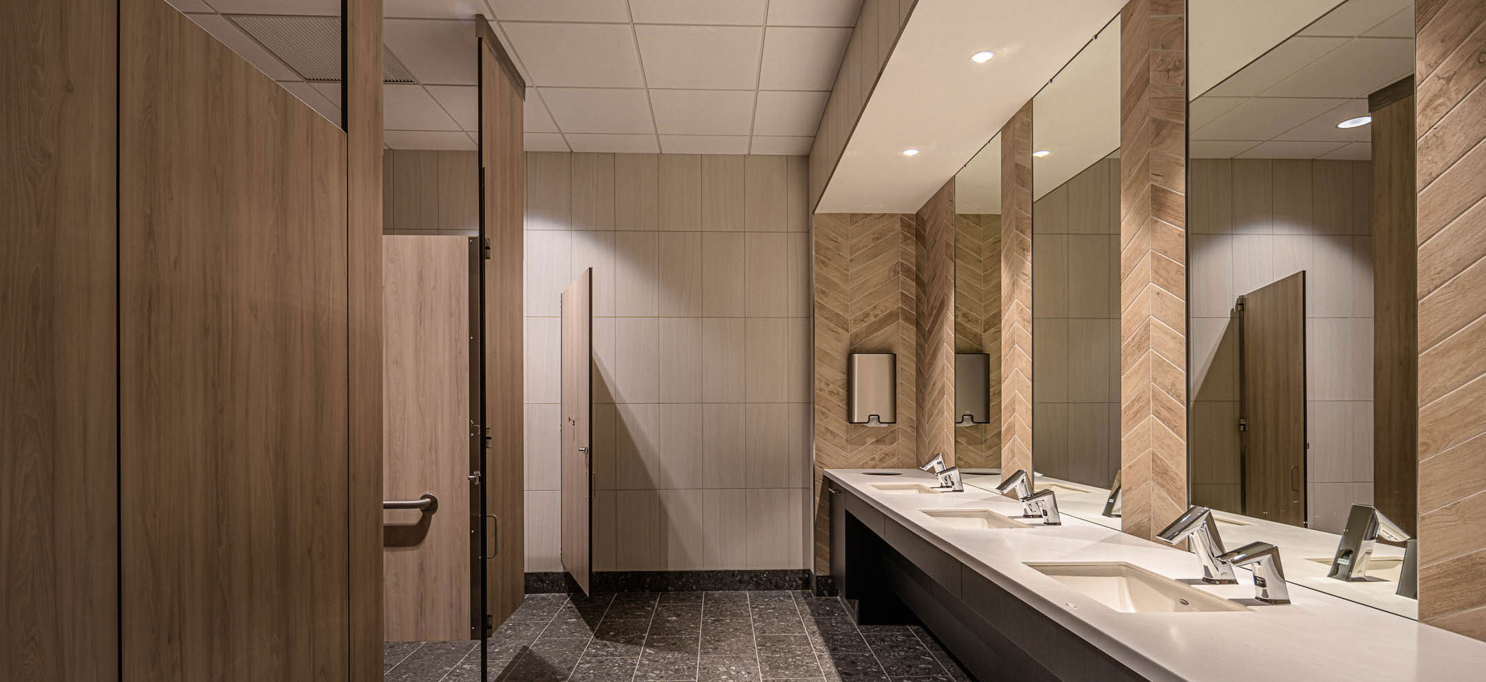 Bathrooms of Nature's Way new corporate office facility constructed by C.D. Smith Construction firm