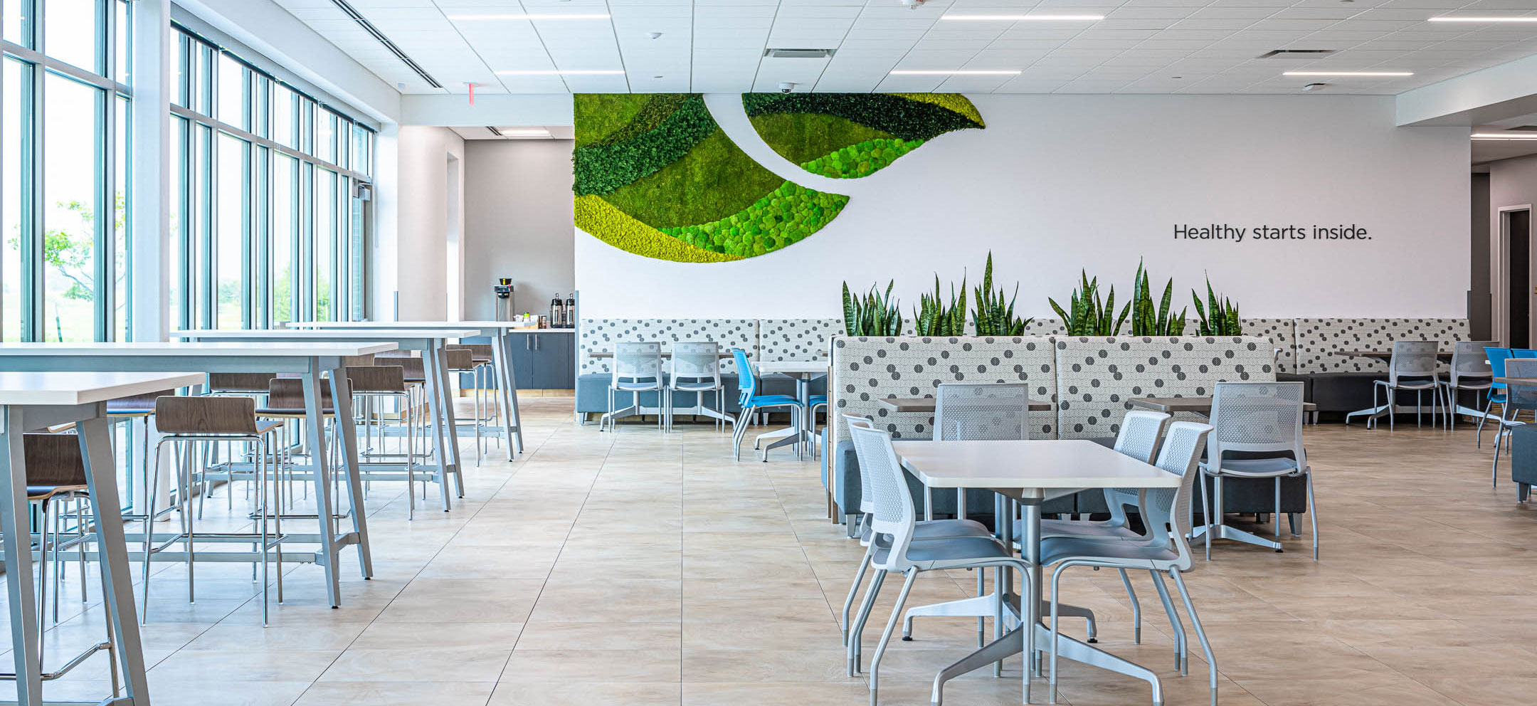 Cafe Lunch area of Nature's Way new corporate office facility constructed by C.D. Smith Construction firm