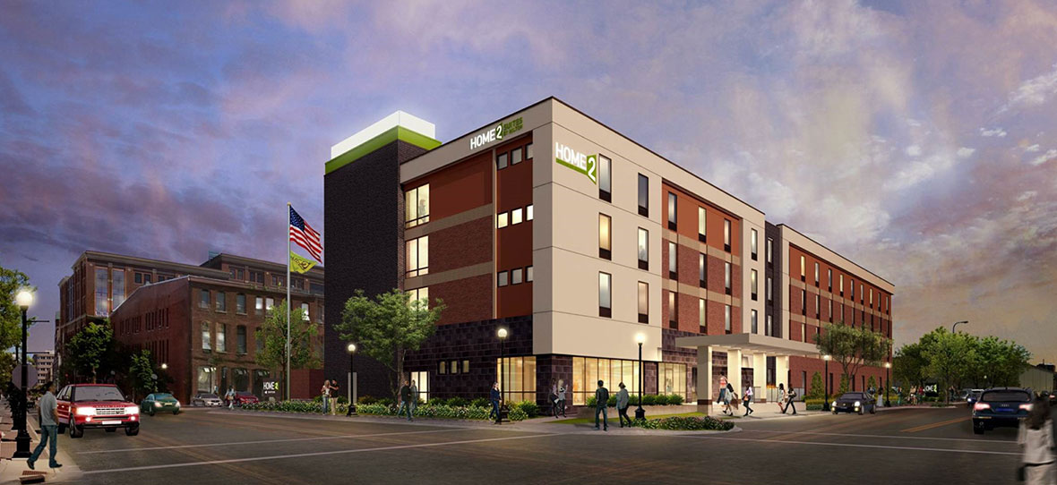 C.D. Smith was hired as Construction Manager for Home2 Suites by Hilton, offering convenient, extended-stay hotel suites with calming views of the Mississippi River and bluffs of La Crosse.