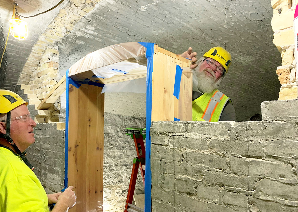 Masonry Team featured as a C.D. Smith Construction commercial project trades masonry field career masons team members.