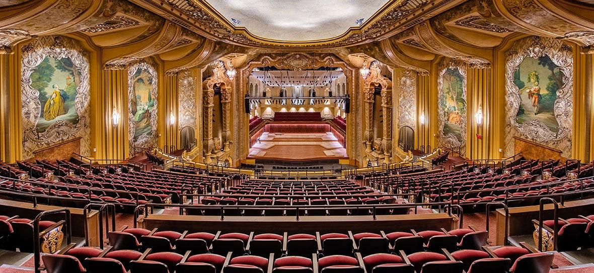 Theater Auditorium of Milwaukee Symphony Orchestra Warner Grande Theatre historic building & modern building construction - Bradley Symphony Center