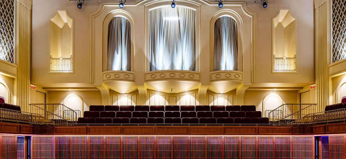 Theater Stage of Milwaukee Symphony Orchestra Warner Grande Theatre historic building & modern building construction - Bradley Symphony Center