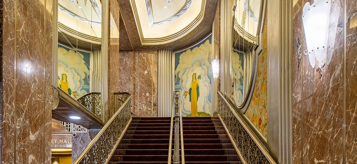 The Historic Grand Lobby Staircase of Milwaukee Symphony Orchestra Warner Grande Theatre historic building & modern building construction - Bradley Symphony Center