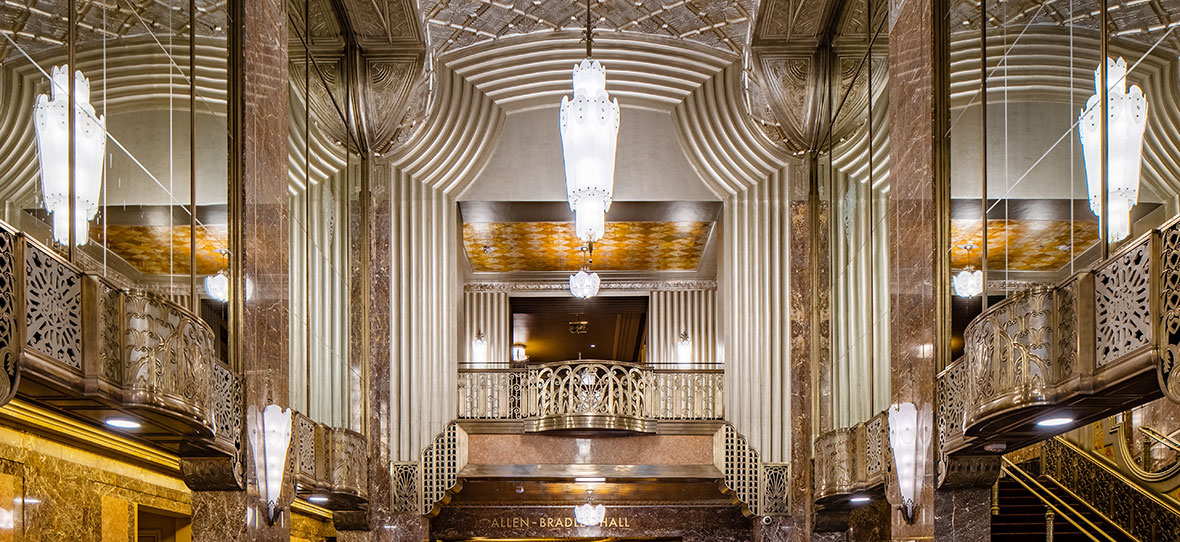 Historic Grand Lobby Milwaukee Symphony Orchestra Warner Grande Theatre historic restoration construction building modern Bradley Symphony Center