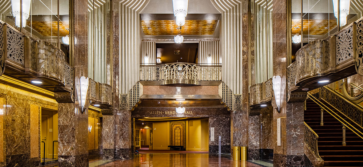 The Historic Grand Lobby Milwaukee Symphony Orchestra Warner Grande Theatre historic restoration construction building modern Bradley Symphony Center