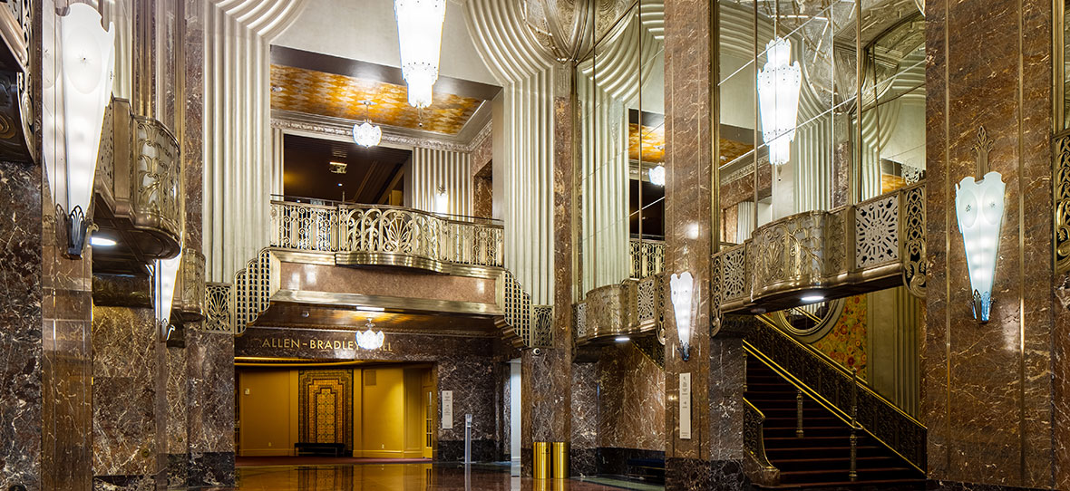 The Historic Grand Lobby of Milwaukee Symphony Orchestra Warner Grande Theatre historic building & modern building construction - Bradley Symphony Center