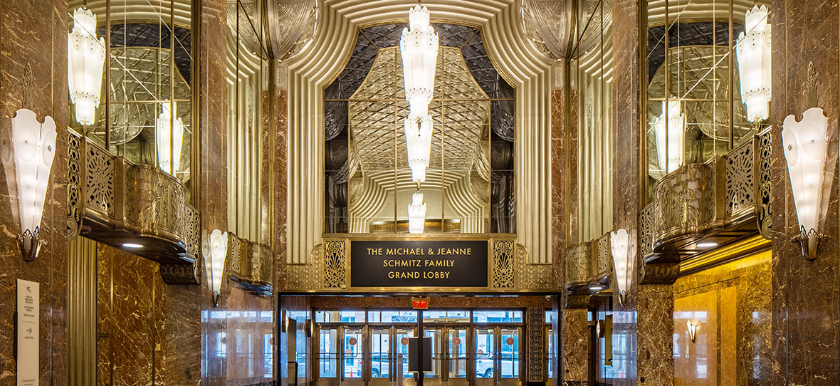 The Historic Grand Lobby of Milwaukee Symphony Orchestra Warner Grande Theatre historic restoration construction building modern Bradley Symphony Center