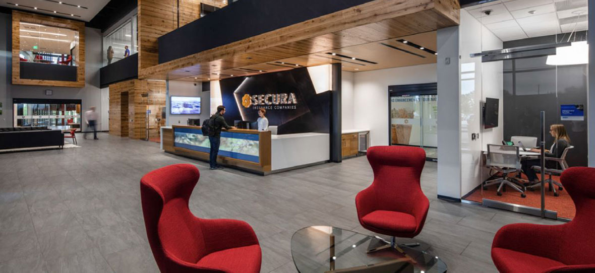 SECURA Insurance Companies Corporate Headquarters project is sustainable high-performance C.D. Smith Construction building.