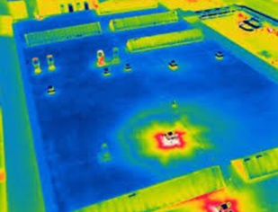 Theremal maps illustrate color-coded temperature variances on surfaces. This imagery provides immediate data to target building enclosure heat loss problem areas quickly.