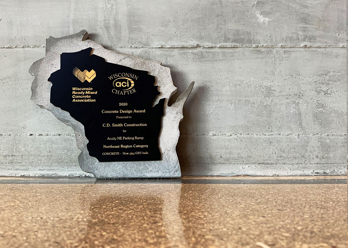 Wisconsin Ready Mixed Concrete Assoc Concrete Design Award - Acuity Parking Ramp commercial project C.D. Smith Construction