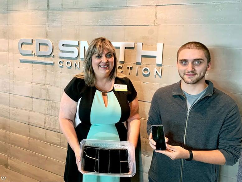 Women's Fund Executive Director & C.D. Smith Construction Jordan Mezera IT Specialist Building Community Donating Retired iPhones to Women at Risk